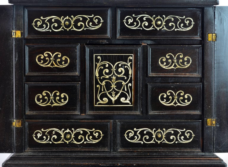 Bronze Superior 19th Century Neoclassical Ebonized and Ivory Inlaid Table Cabinet For Sale