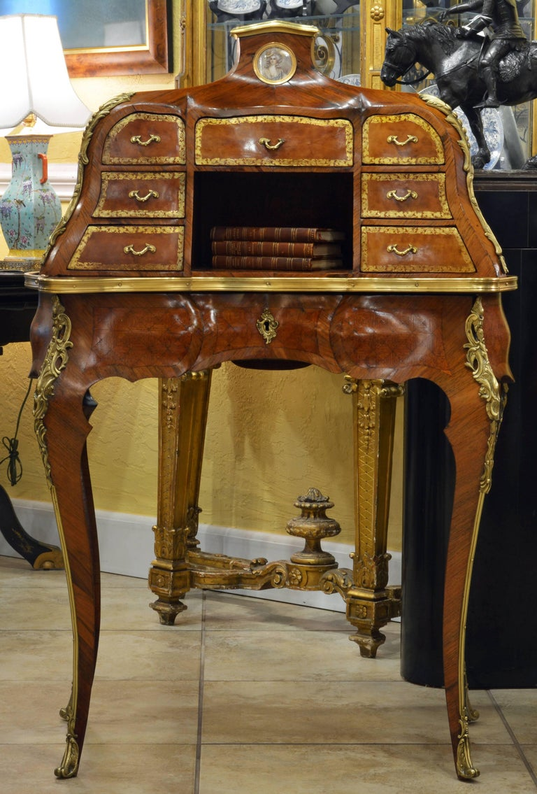 19th Century Louis XV Style Bombe Marquetry and Ormolu-Mounted Bureau a Gradin 2