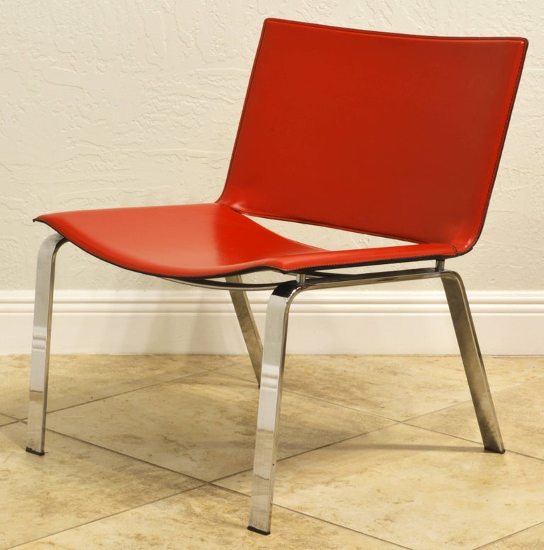 20th Century Pair of Italian Cattelan Lounge Chairs with Floating Seats on Chrome Legs For Sale