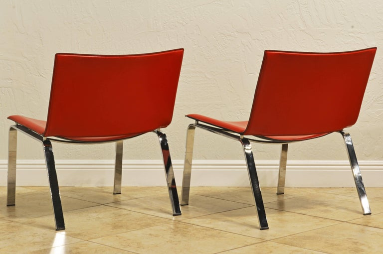 Pair of Italian Cattelan Lounge Chairs with Floating Seats on Chrome Legs In Good Condition For Sale In Ft. Lauderdale, FL