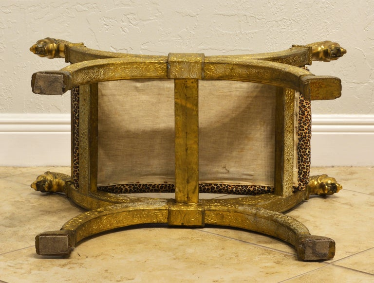 Repoussé Anglo-Indian Brass Repousse Clad Lion's Head and Paw Feet Curule Bench or Stool For Sale