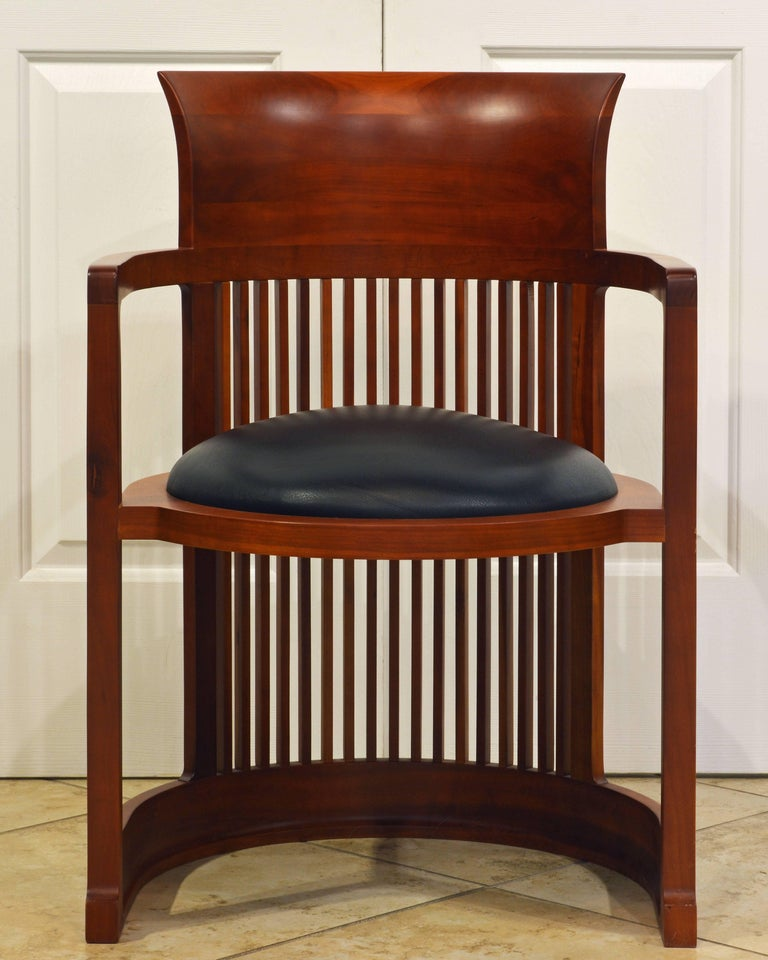 Frank Lloyd Wright Inspired Cherrywood Dining Table & Eight Chairs with Leather In Good Condition For Sale In Ft. Lauderdale, FL