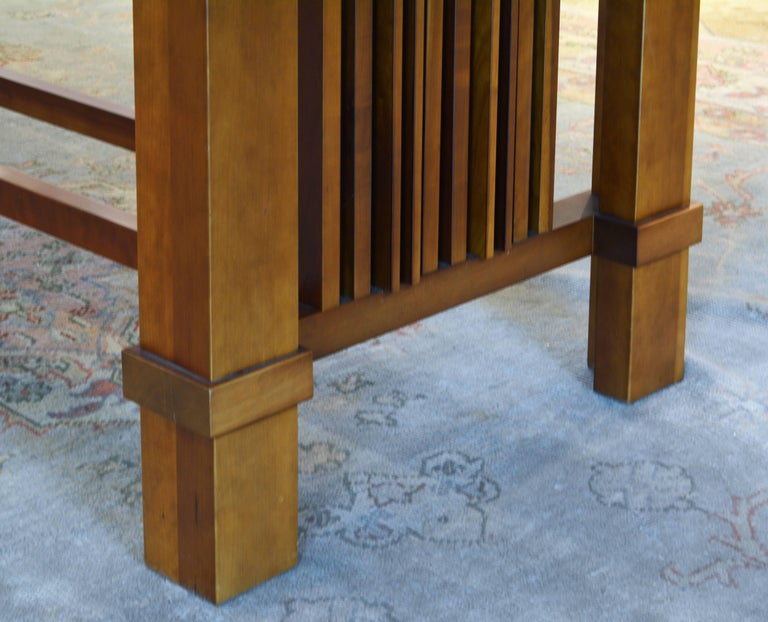 Frank Lloyd Wright Inspired Cherrywood Dining Table & Eight Chairs with Leather For Sale 2