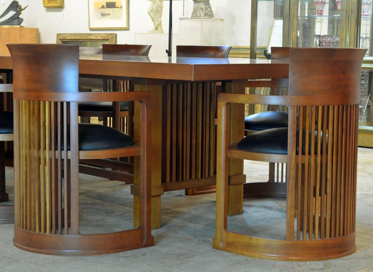 Italian Frank Lloyd Wright Inspired Cherrywood Dining Table & Eight Chairs with Leather For Sale