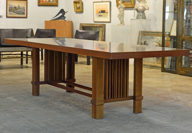 Frank Lloyd Wright Inspired Cherrywood Dining Table & Eight Chairs with Leather For Sale 1