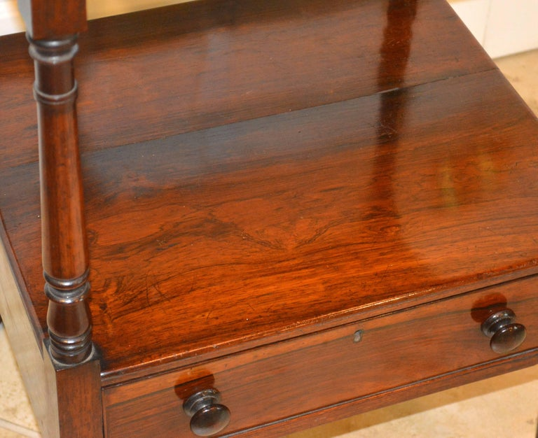 Brass Attractive 19th Century English Rosewood Three-Tier and One Drawer Étagère For Sale