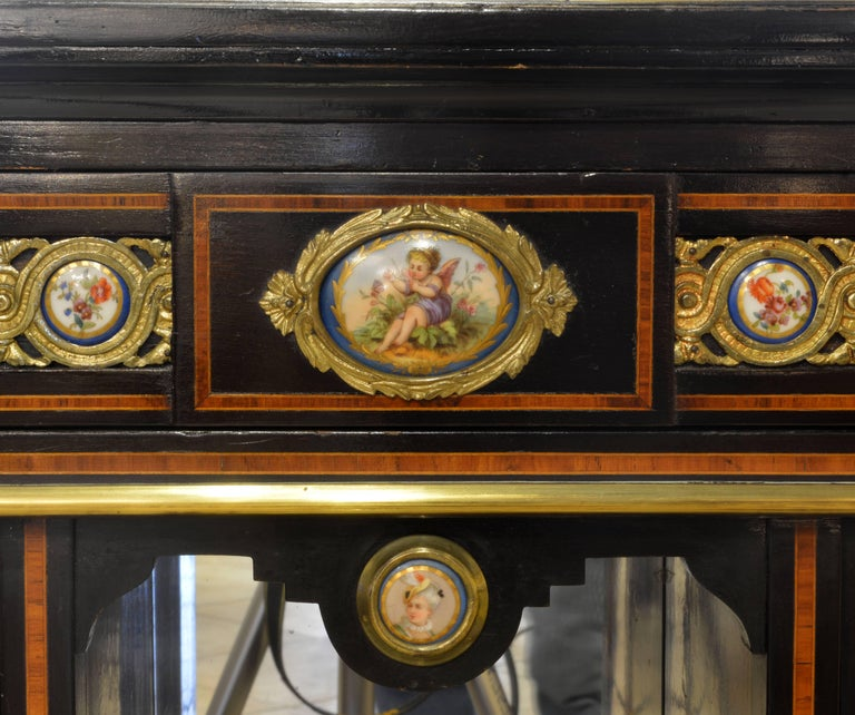 English 19th Cent. Ormolu and Sevres Plaque Mounted Inlaid Burl Walnut Credenza 7