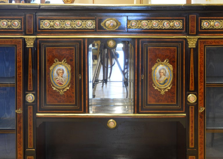 English 19th Cent. Ormolu and Sevres Plaque Mounted Inlaid Burl Walnut Credenza 3