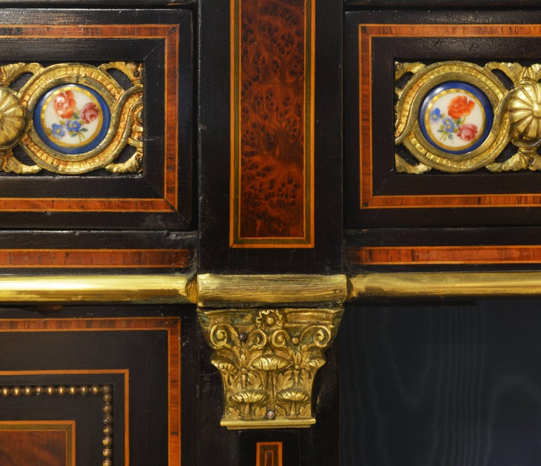 English 19th Cent. Ormolu and Sevres Plaque Mounted Inlaid Burl Walnut Credenza 6