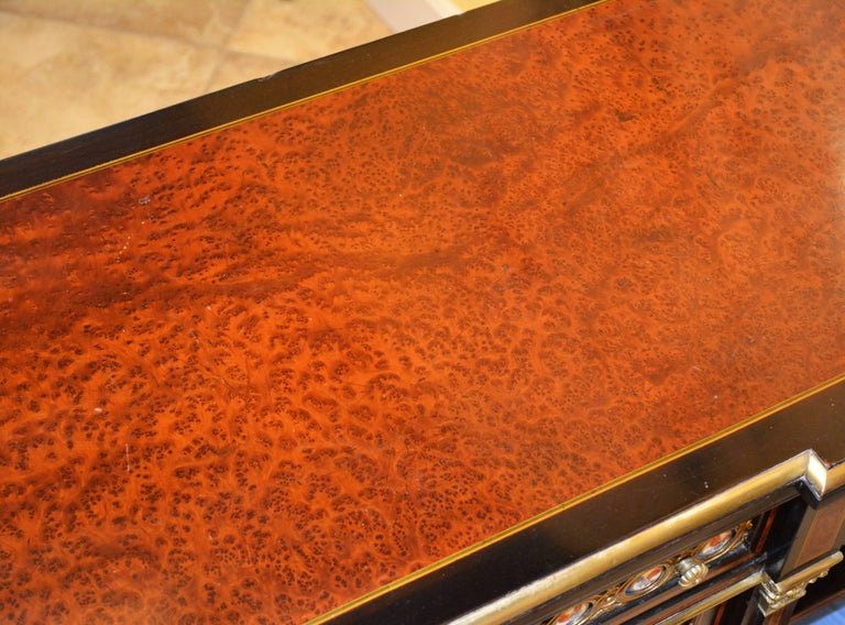 English 19th Cent. Ormolu and Sevres Plaque Mounted Inlaid Burl Walnut Credenza 9