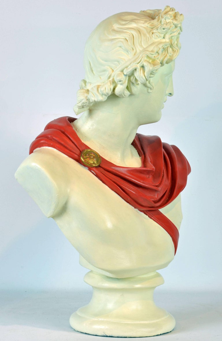 Unique Midcentury Polychrome Painted Plaster Bust of Apollo Belvedere 2