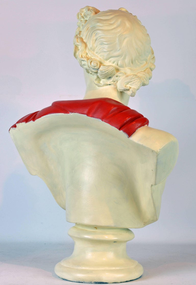Unique Midcentury Polychrome Painted Plaster Bust of Apollo Belvedere 3