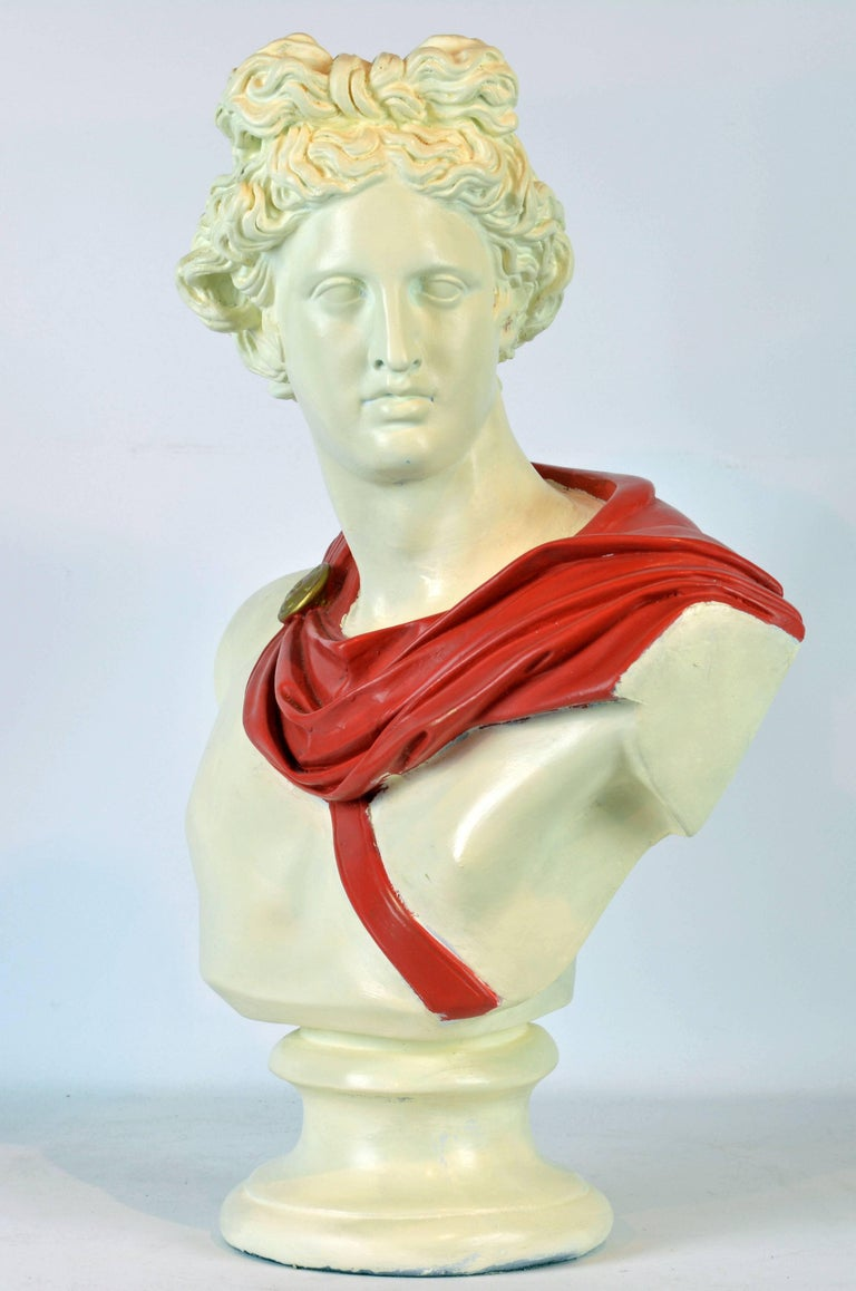 Unique Midcentury Polychrome Painted Plaster Bust of Apollo Belvedere 4