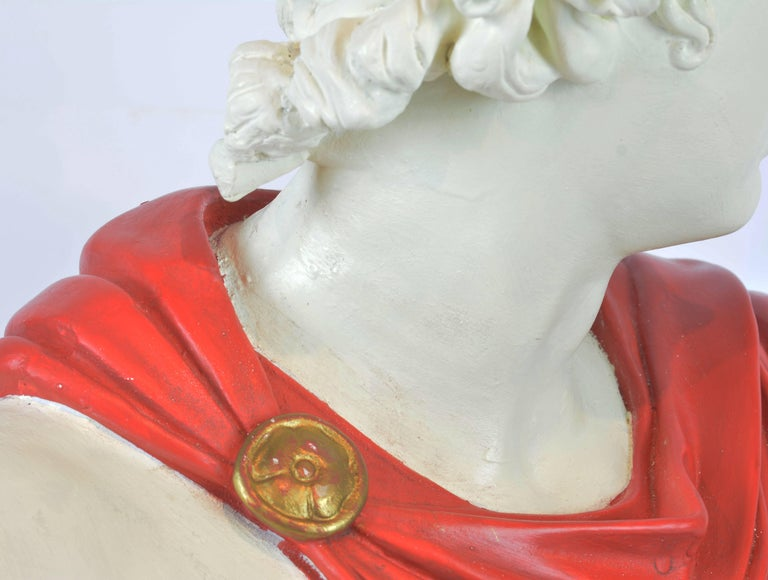 Unique Midcentury Polychrome Painted Plaster Bust of Apollo Belvedere 8