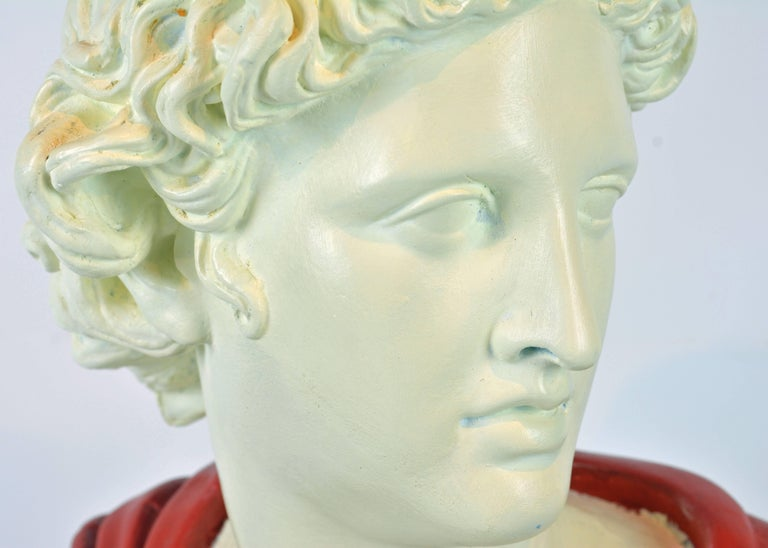 Unique Midcentury Polychrome Painted Plaster Bust of Apollo Belvedere 5