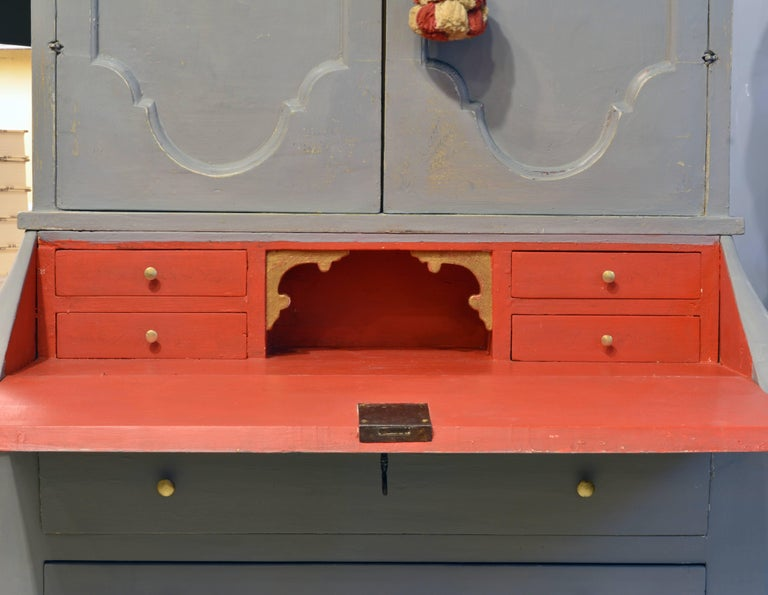 Charming Early 20th Century Italian Provincial Painted Secretary Desk For Sale 1