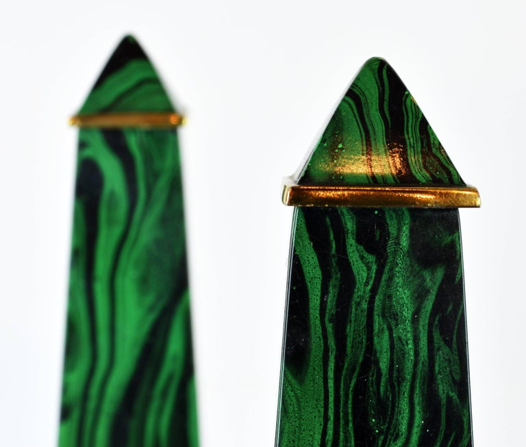 Pair of Tall Paul Hanson Midcentury Faux Malachite and Brass Obelisk Models For Sale 1