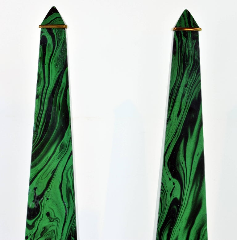 American Pair of Tall Paul Hanson Midcentury Faux Malachite and Brass Obelisk Models For Sale