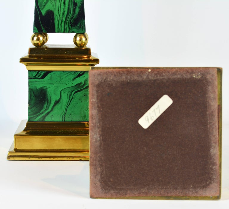 Pair of Tall Paul Hanson Midcentury Faux Malachite and Brass Obelisk Models In Good Condition For Sale In Ft. Lauderdale, FL