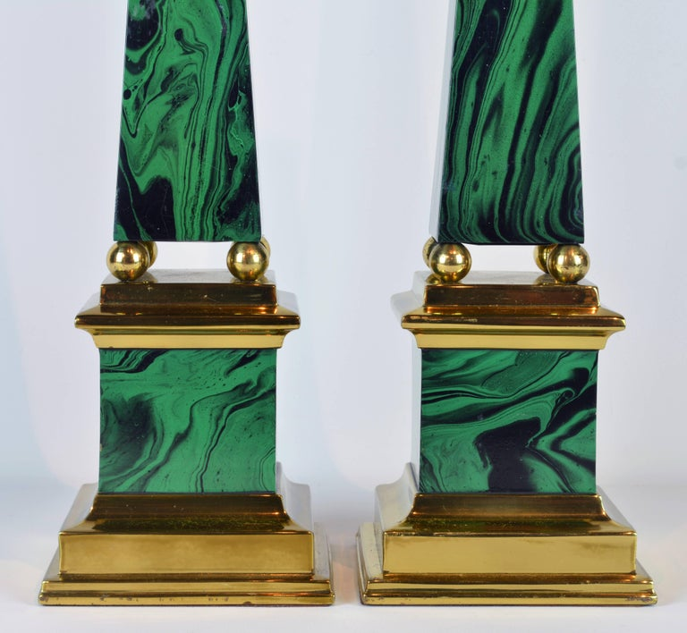 Pair of Tall Paul Hanson Midcentury Faux Malachite and Brass Obelisk Models 3