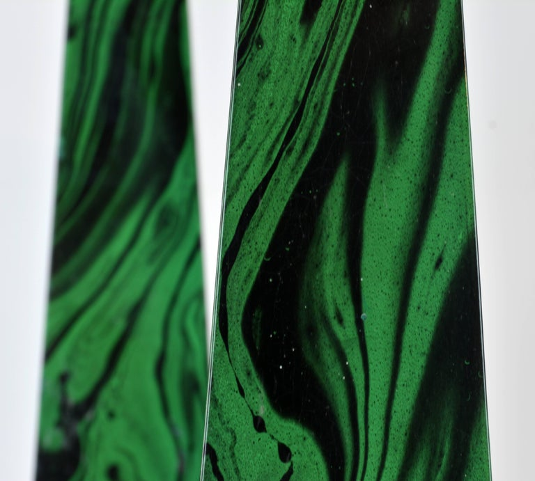 Pair of Tall Paul Hanson Midcentury Faux Malachite and Brass Obelisk Models 9
