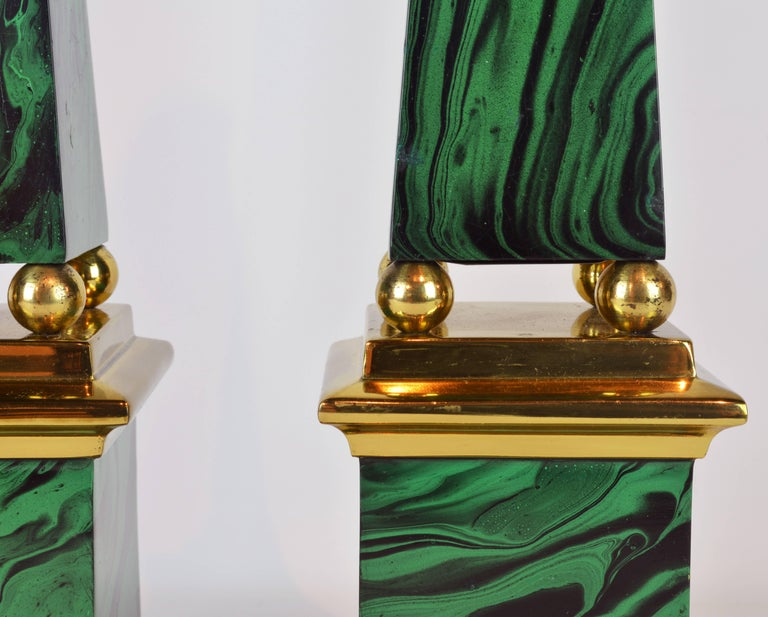 Painted Pair of Tall Paul Hanson Midcentury Faux Malachite and Brass Obelisk Models For Sale