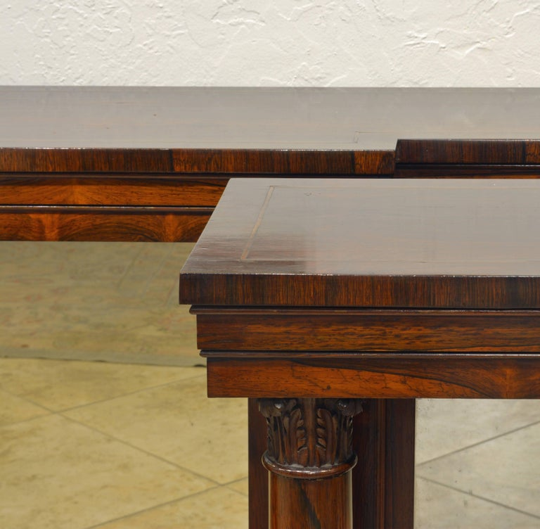 19th Century Pair of Superior English Regency Mirrored Breakfront Rosewood Console Tables For Sale