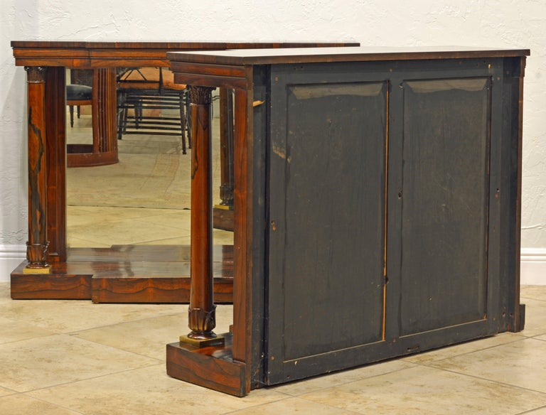 Pair of Superior English Regency Mirrored Breakfront Rosewood Console Tables In Good Condition For Sale In Ft. Lauderdale, FL