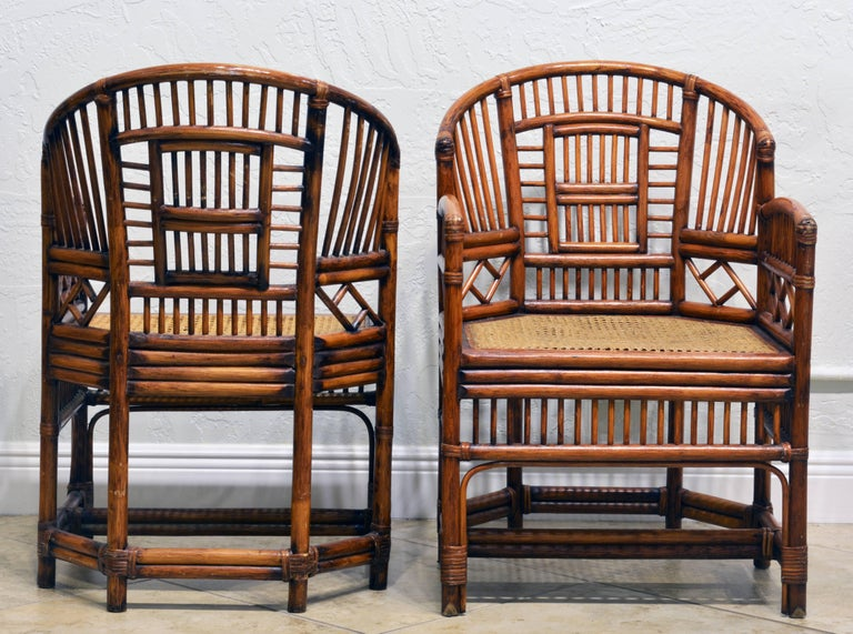 Pair of Vintage Brighton Pavilion Style Chinoiserie Chippendale Bamboo Armchairs In Good Condition For Sale In Ft. Lauderdale, FL