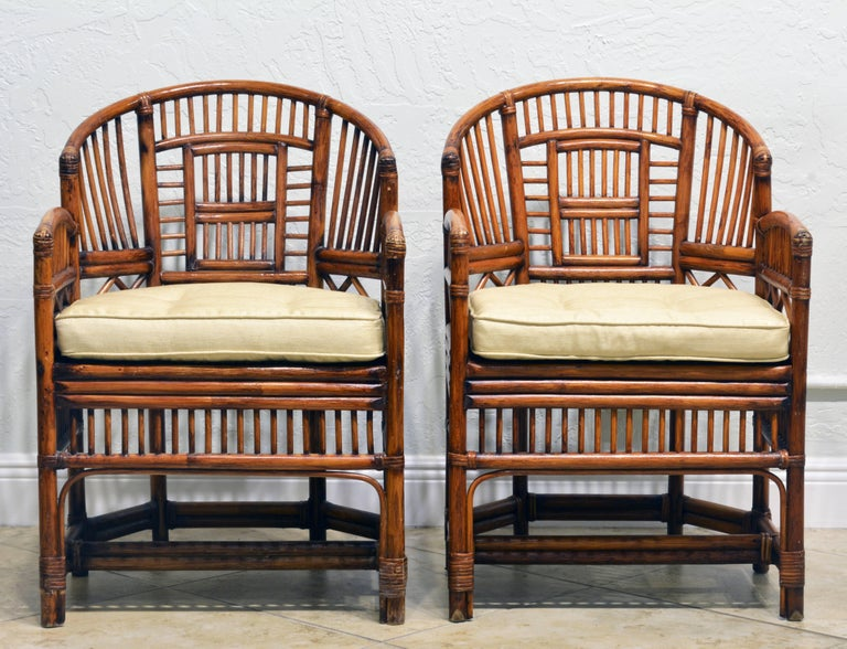 Chinese Chippendale Pair of Vintage Brighton Pavilion Style Chinoiserie Chippendale Bamboo Armchairs For Sale