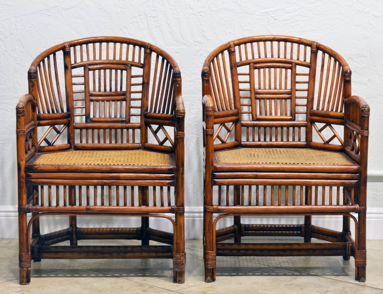 Chinese Pair of Vintage Brighton Pavilion Style Chinoiserie Chippendale Bamboo Armchairs For Sale