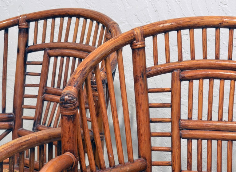 Pair of Vintage Brighton Pavilion Style Chinoiserie Chippendale Bamboo Armchairs For Sale 3