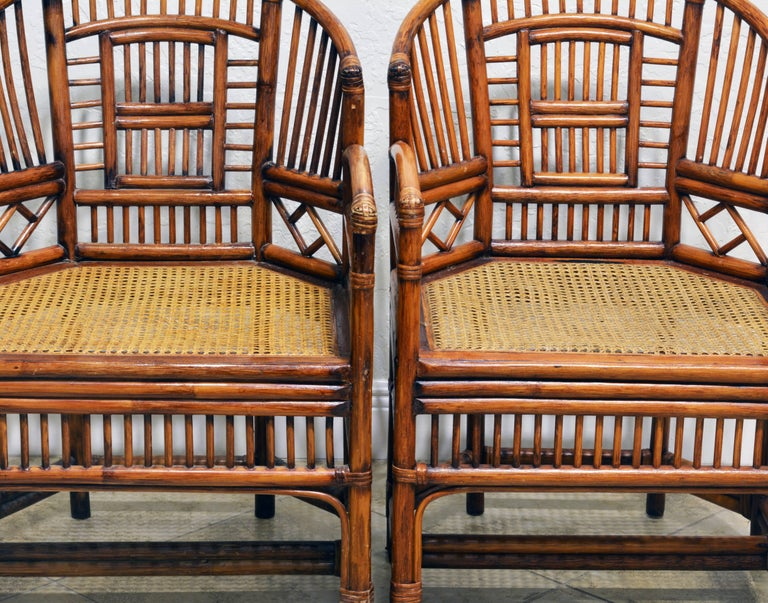 20th Century Pair of Vintage Brighton Pavilion Style Chinoiserie Chippendale Bamboo Armchairs For Sale