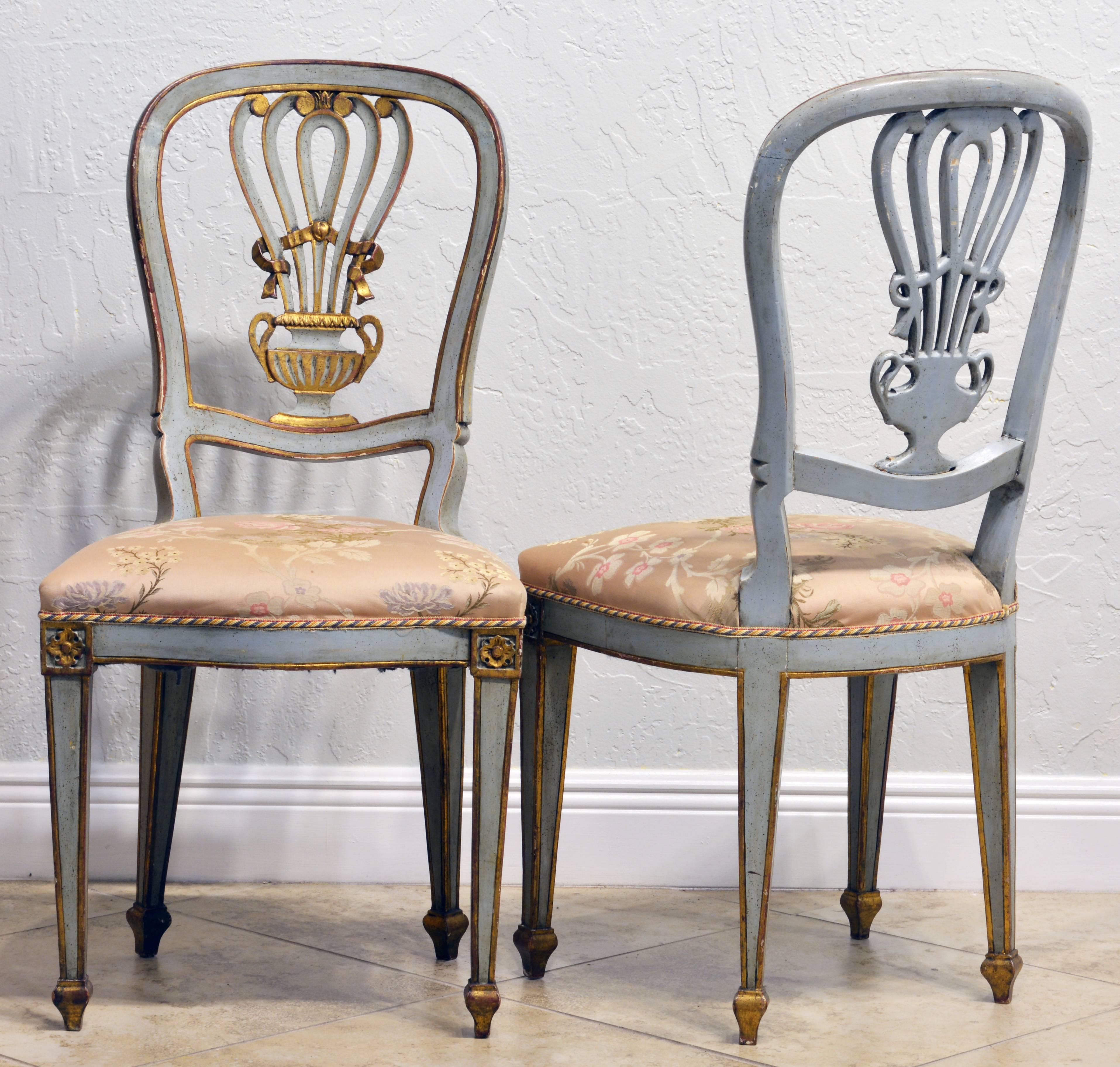 Lovely Pair Of Louis XV Inspired Italian Gilt And Grey Paint Salon Chairs  In Good Condition