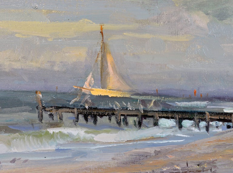 Gilt 'Along the Gulf' Florida Impressionism by Robert C. Gruppe, American For Sale
