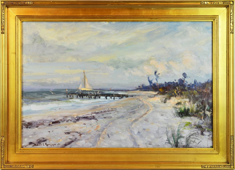 'Along the Gulf' By Robert C. Gruppe, American b. 1944. Measures: 24 x 36 inches with frame, 31 x 43 inches including frame. Oil on canvas, signed. Housed in an Arts & Craft style vintage frame.  Robert Charles Gruppe: Being third generation