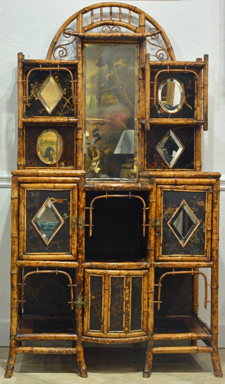 superior 19th century english bamboo and lacquer etagere or hall tree cabinet at 1stdibs. Black Bedroom Furniture Sets. Home Design Ideas
