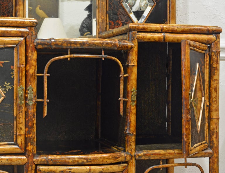 Superior 19th Century English Bamboo and Lacquer Etagere or Hall Tree Cabinet For Sale 2