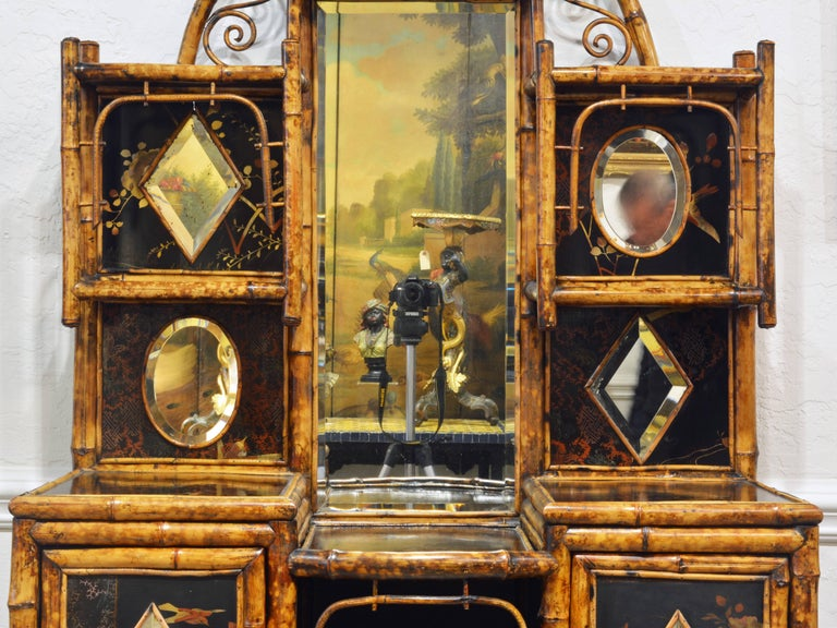 Aesthetic Movement Superior 19th Century English Bamboo and Lacquer Etagere or Hall Tree Cabinet For Sale