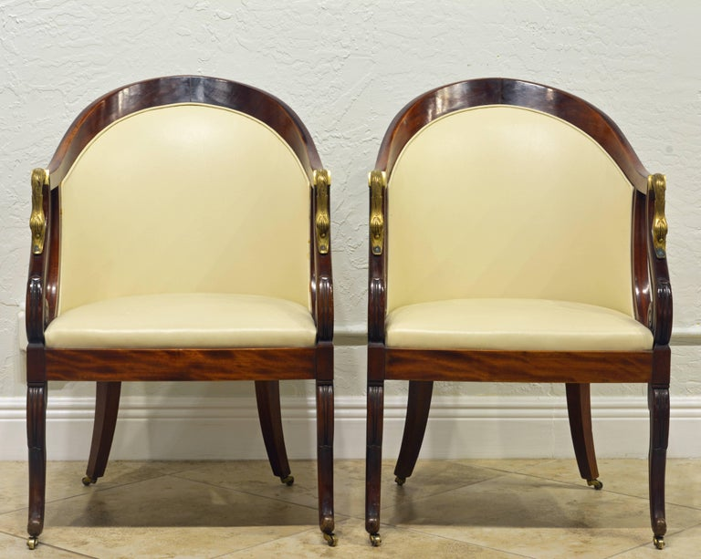 French Elegant Pair of Napoleon III Empire Leather Covered Arm Chairs with Swan Mounts