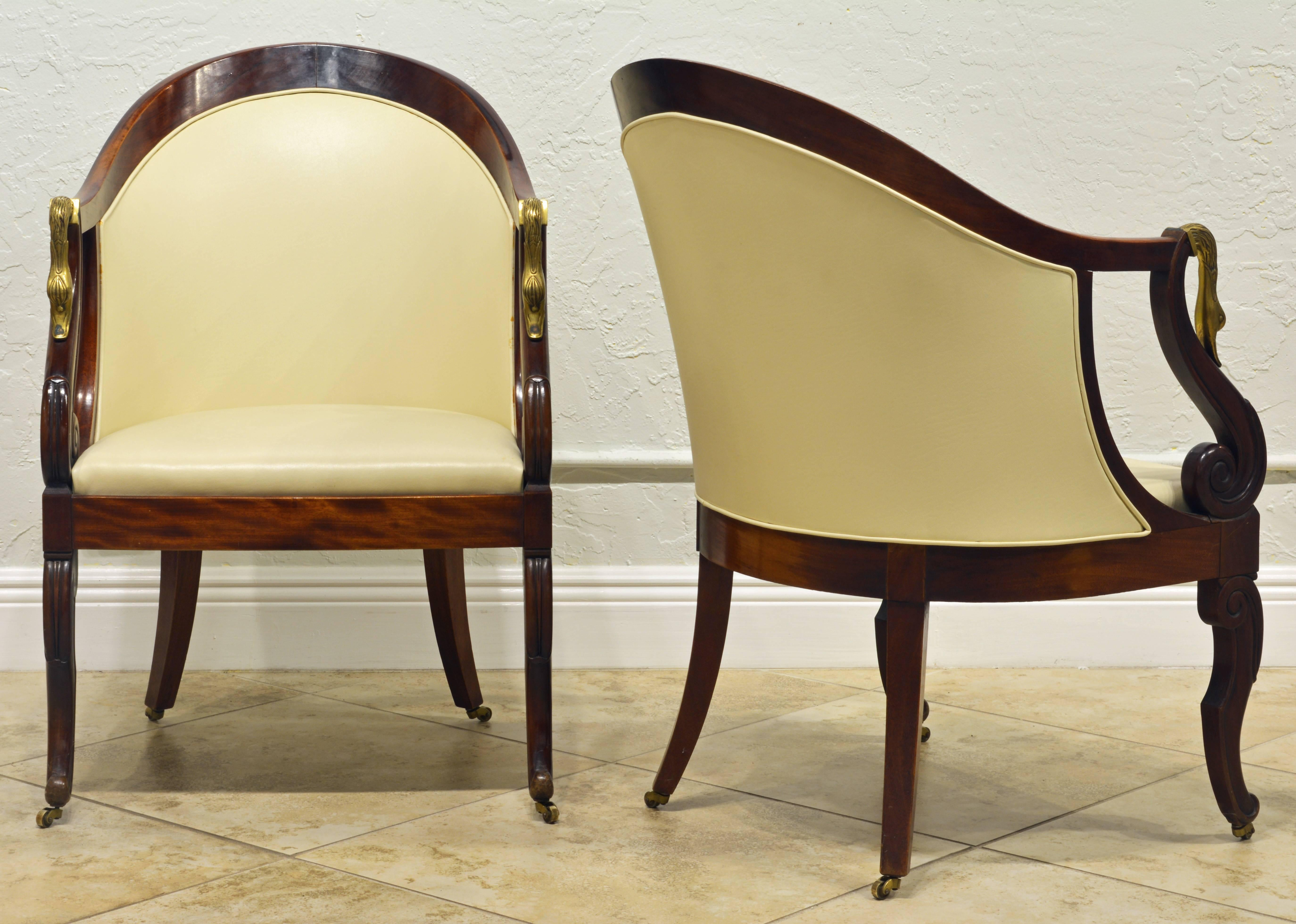 Elegant Pair Of Napoleon III Empire Leather Covered Arm Chairs With Swan  Mounts In Good Condition