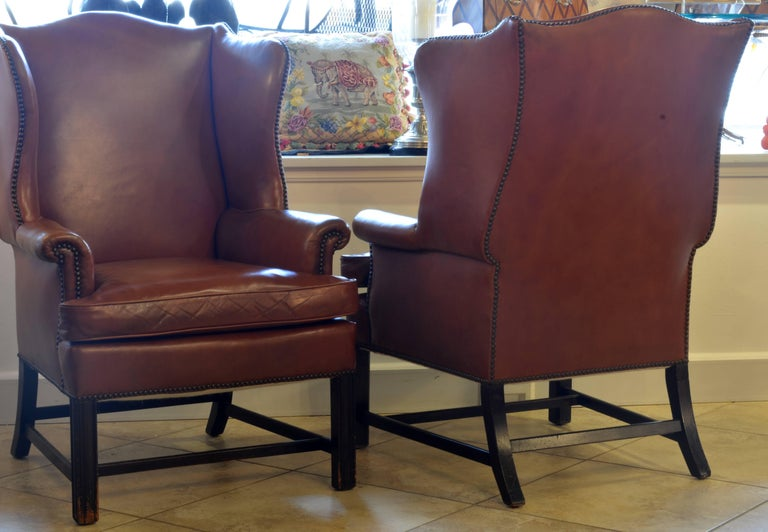 Pair of Exquisite Vintage Georgian Style Wing Back Leather Armchairs 2