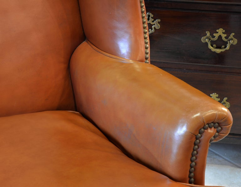 Pair of Exquisite Vintage Georgian Style Wing Back Leather Armchairs 5