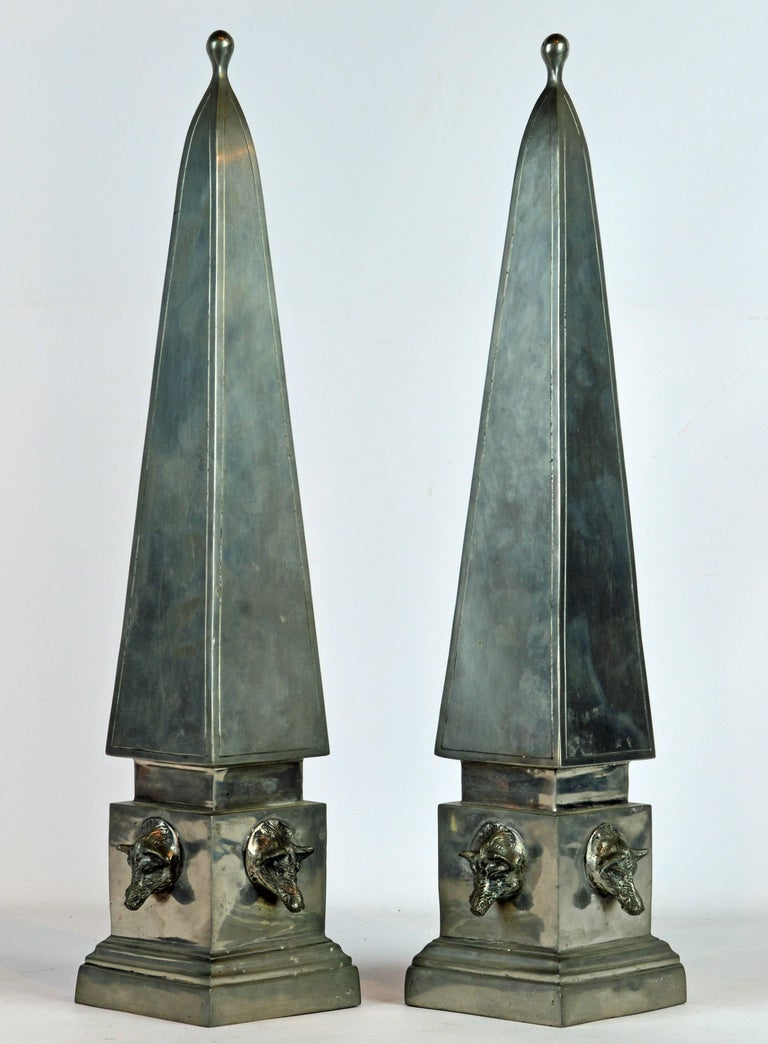 Neoclassical Pair of Large Mid Century Portuguese Pewter Obelisk Models with Boar's Heads For Sale