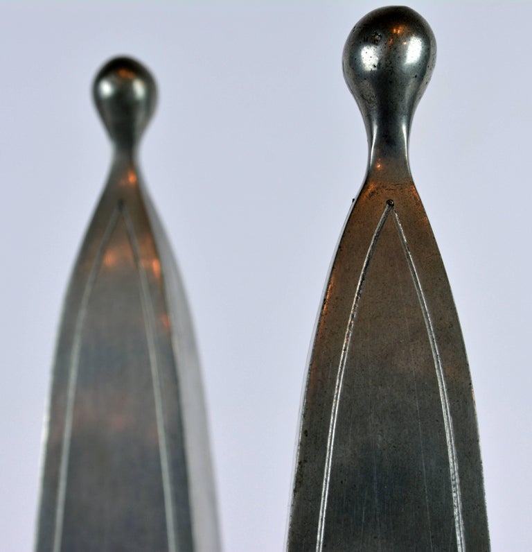 Pair of Large Mid Century Portuguese Pewter Obelisk Models with Boar's Heads For Sale 1