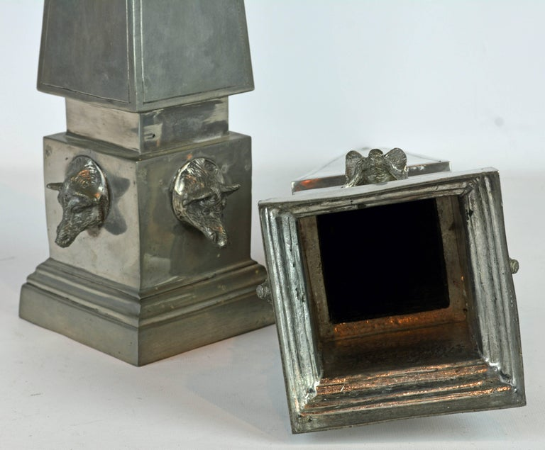 Polished Pair of Large Mid Century Portuguese Pewter Obelisk Models with Boar's Heads For Sale