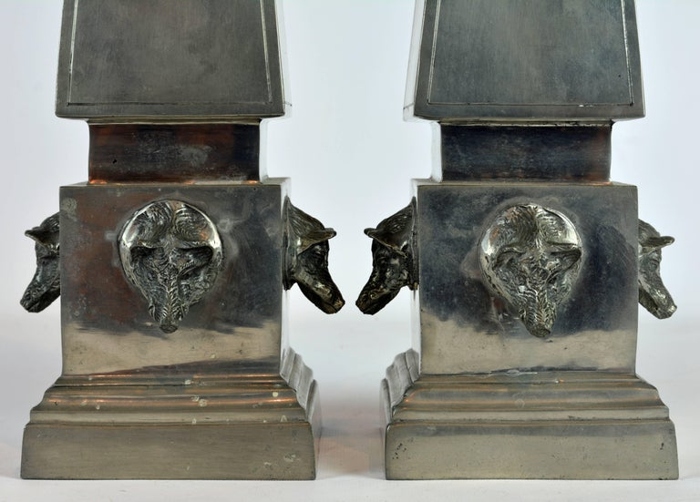 Pair of Large Mid Century Portuguese Pewter Obelisk Models with Boar's Heads In Good Condition For Sale In Ft. Lauderdale, FL