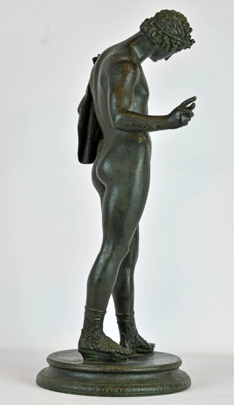 Patinated Italian 19th Century Bronze Statue of Antinous with Goatskin after the Antique For Sale