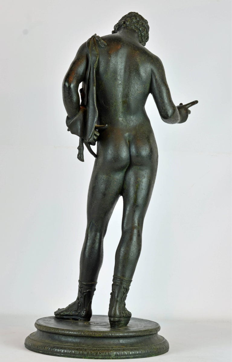 Greco Roman Italian 19th Century Bronze Statue of Antinous with Goatskin after the Antique For Sale