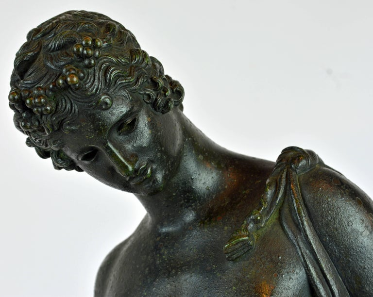Italian 19th Century Bronze Statue of Antinous with Goatskin after the Antique In Good Condition For Sale In Ft. Lauderdale, FL